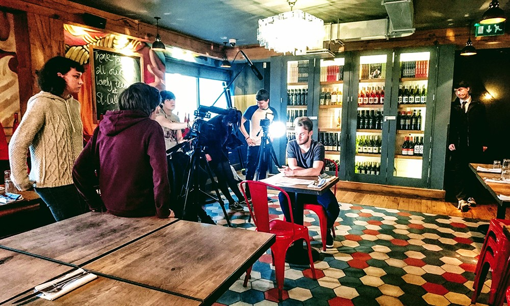 Media Production students filming in Jamie Oliver's restaurant