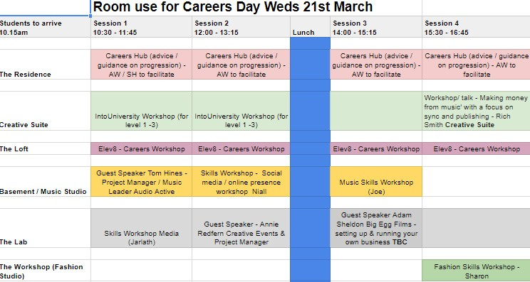 Careers Day - Brighton Timetable